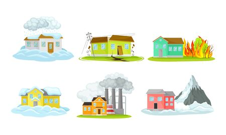 Houses Undergoing Natural Disasters Like Fire and Avalanche Vector Set