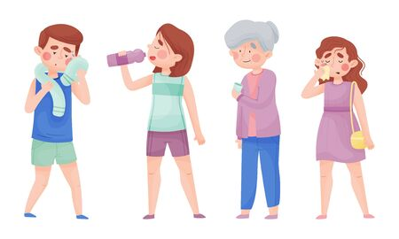 People Characters with Beads of Sweat on Their Forehead Drinking Cool Water from Bottle and Glass Vector Illustrations Set
