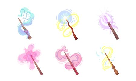 Magic Wands with Fairy Dust and Glow Swirling Around Vector Set