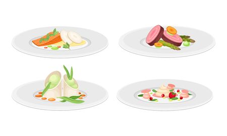 Haute Cuisine or Grande Cuisine with Meticulous Food Preparation and Serving on Plate Side View Vector Set