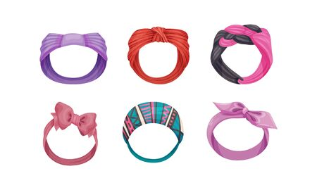 Female Headband as Hair or Head Accessory Vector Set. Textile Head Bandage for Doing Hair and Styling Concept