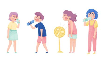 People Characters with Beads of Sweat on Their Forehead Drinking Cool Water and Using Fan Vector Illustrations Set