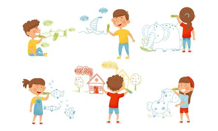Kids Characters Standing and Drawing with Felt Pens on the Wall Vector Illustrations Set Ilustração