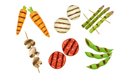 Grilled Skewered Vegetables and Mushrooms Isolated on White Background Vector Set Çizim