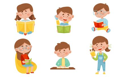 Kids in Sitting and Lying Pose Reading Book Vector Illustrations Set Ilustracja