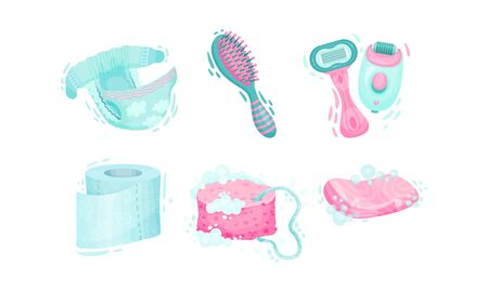 Personal Hygiene Items with Shower Puff and Toilet Paper Vector Set