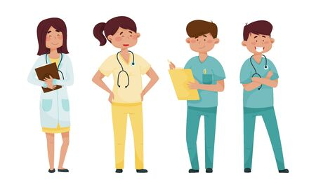 Smiling Man and Woman Doctors Wearing Medical Uniform Vector Illustrations Set