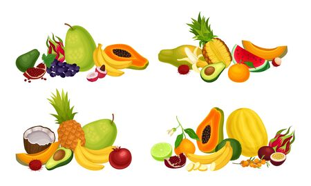 Exotic Fruits Composition with Pineapple and Papaya Vector Set. Ripe and Juicy Tropical Sweet Food Concept