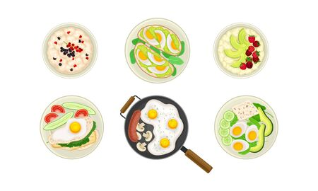 Food for Breakfast with Porridge and Pancakes and Scrambled Eggs Rested in Frying Pan Top View Vector Set. Morning Appetizing Meal Concept