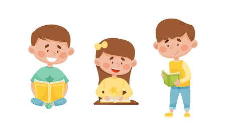 Kids in Sitting and Standing Pose Reading Book Vector Illustrations Set