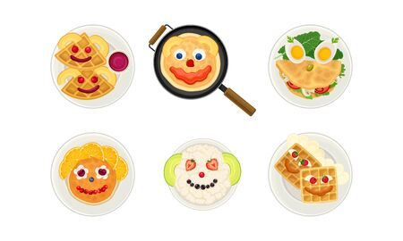 Smiley Breakfast Food Arrangement or Serving with Waffle and Pancakes Above View Vector Set Çizim