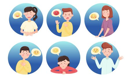 People Characters with Emoji Showing Different Emotional States and Feeling Like Boredom and Anger Vector Set. Man and Woman Expressing Positive and Negative Emotions