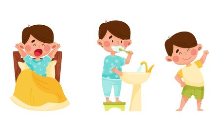 Cute Boy Character Waking Up, Brushing His Teeth and Doing Physical Exercises Vector Illustrations Set. Kid Engaged in Daily Routine Activity Concept 向量圖像