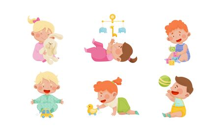 Baby Boys and Girls Sitting on the Floor and Playing with Their Toys Vector Set