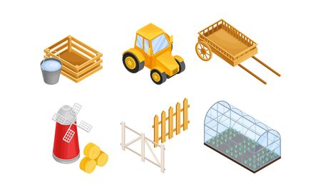 Greenhouse with Agricultural Crops Growing in Germination Bed and Flour Mill Vector Set