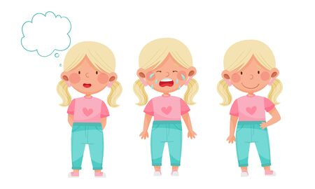 Cute Little Girl with Blonde Hair Demonstrating Different Gestures and Facial Expressions Vector Set 일러스트