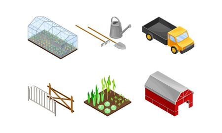 Greenhouse with Agricultural Crops Growing in Germination Bed and Barn Vector Set