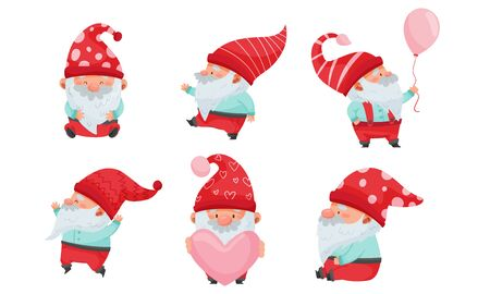 Fantastic Christmas Gnome or Dwarf Character with Red Hat and White Beard Holding Heart and Balloon Vector Set Stock Illustratie