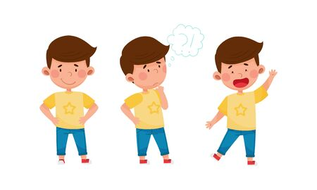 Little Boy Standing with Smile and Thoughtful Expression on His Face Vector Set