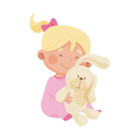 Baby Girl Sitting on the Floor and Hugging Fluffy Toy Hare Vector Illustration