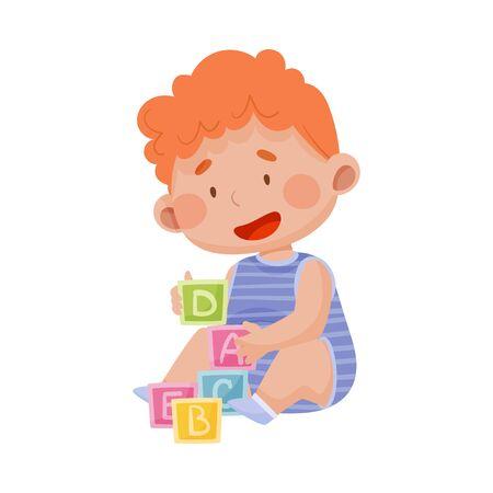 Baby Boy Sitting on the Floor with Abc Blocks Toy Vector Illustration 일러스트