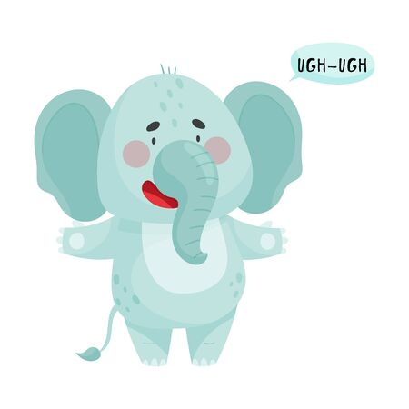 Elephant with Open Mouth Making Sound Isolated on White Background Vector Illustration