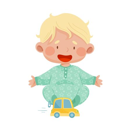 Baby Boy Sitting on the Floor with Wind up Toy Car Vector Illustration