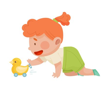 Baby Girl Crawling on the Floor with Wind up Toy Duck Vector Illustration