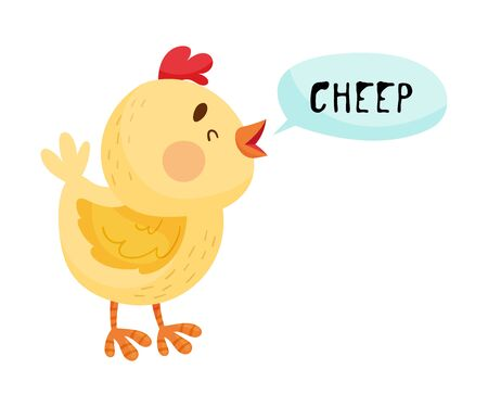 Little Yellow Chicken with Open Mouth Making Cheep Sound Isolated on White Background Vector Illustration