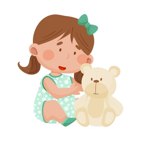 Baby Girl Sitting on the Floor and Hugging Fluffy Toy Bear Vector Illustration