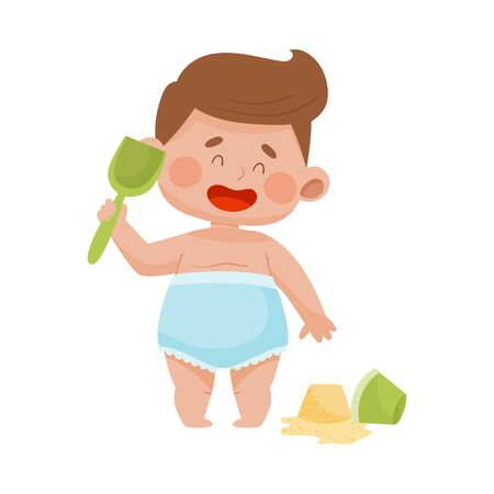 Baby Boy in Diaper Standing with Shovel in Sandbox Building Shapes Vector Illustration 일러스트