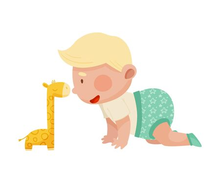 Baby Boy Crawling on the Floor with His Stuffed Toy Giraffe Vector Illustration