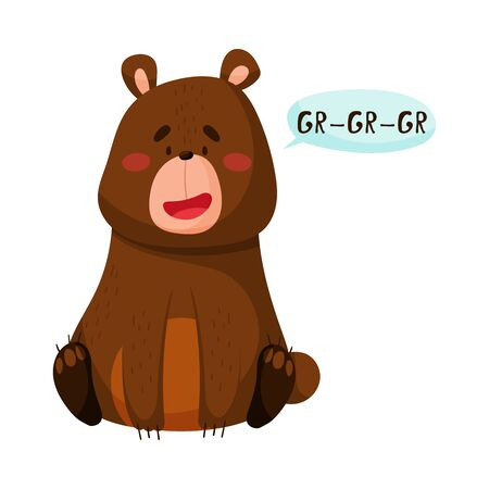 Brown Bear with Open Mouth Making Growling Sound Isolated on White Background Vector Illustration
