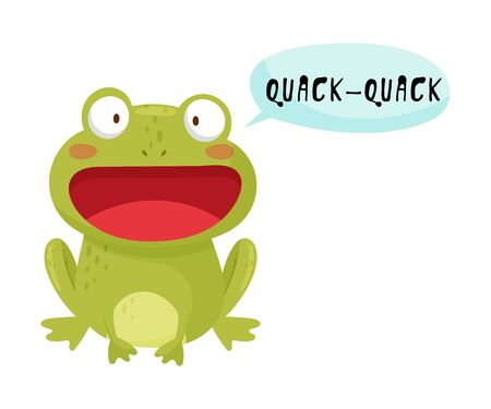 Green Frog with Open Mouth Making Quack Sound Isolated on White Background Vector Illustration