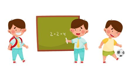 Cute Boy Character Going to School with Backpack, Standing Near Blackboard and Playing Football Vector Illustrations Set