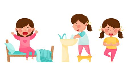 Cute Girl Character Waking Up, Cleaning Up and Doing Yoga Vector Illustrations Set Vector Illustratie