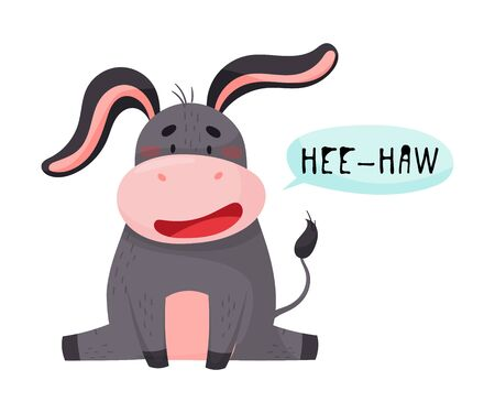 Donkey with Open Mouth Making Hee-haw Sound Isolated on White Background Vector Illustration