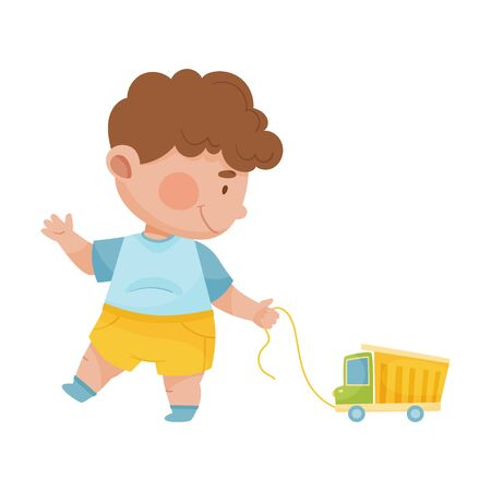 Baby Boy Walking and Pulling Toy Car Vector Illustration
