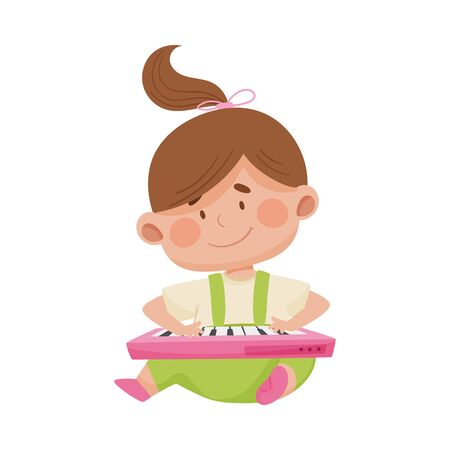 Baby Girl Sitting on the Floor Pressing Buttons on Toy Keyboard Vector Illustration