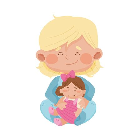 Baby Girl Sitting on the Floor and Hugging Doll Vector Illustration 일러스트