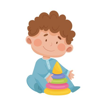 Baby Boy Sitting on the Floor with Pyramid Blocks Toy Vector Illustration