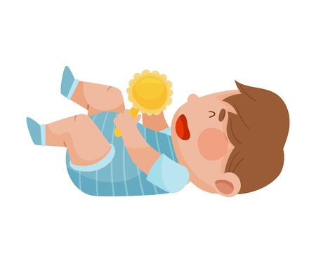 Baby Boy Lying on the Floor Holding Rattle Toy Vector Illustration