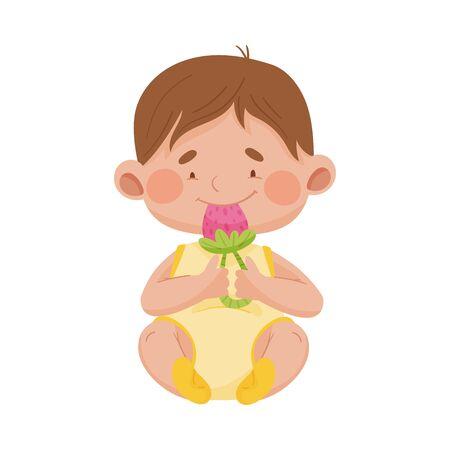 Baby Boy Sitting on the Floor Holding Rattle Toy Vector Illustration 일러스트
