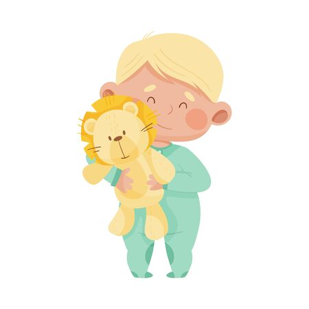 Baby Boy Standing and Hugging Fluffy Toy Lion Vector Illustration