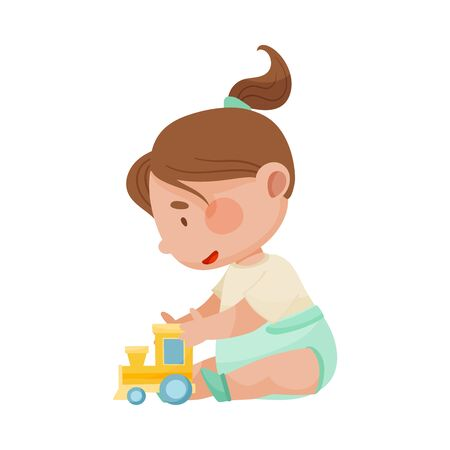 Baby Girl Sitting on the Floor with Toy Car Vector Illustration