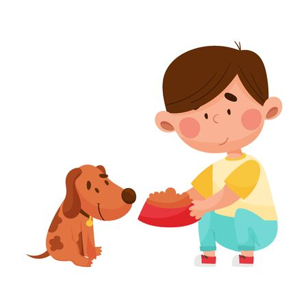 Boy Character with Bowl of Dog Food Feeding His Domestic Animal Vector Illustration Vettoriali