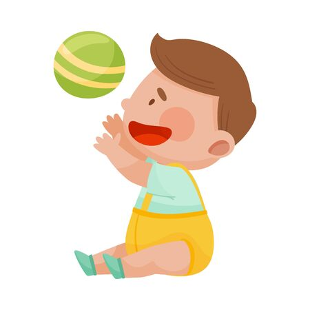 Baby Boy Sitting on the Floor and Throwing Ball in the Air Vector Illustration