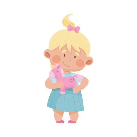 Baby Girl Standing and Hugging Stuffed Toy Horse Vector Illustration 일러스트