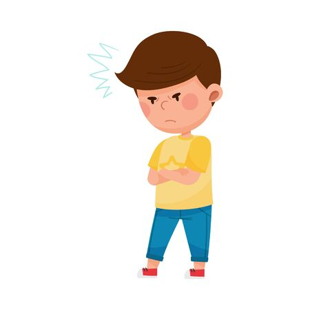 Dark-haired Boy Standing with Arms Folded and Frowning Vector Illustration