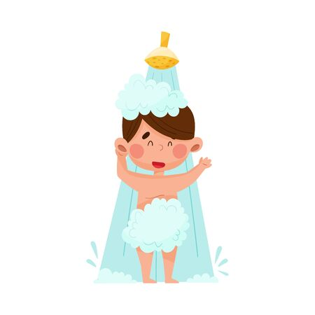 Boy Character Taking a Shower in the Morning Vector Illustration